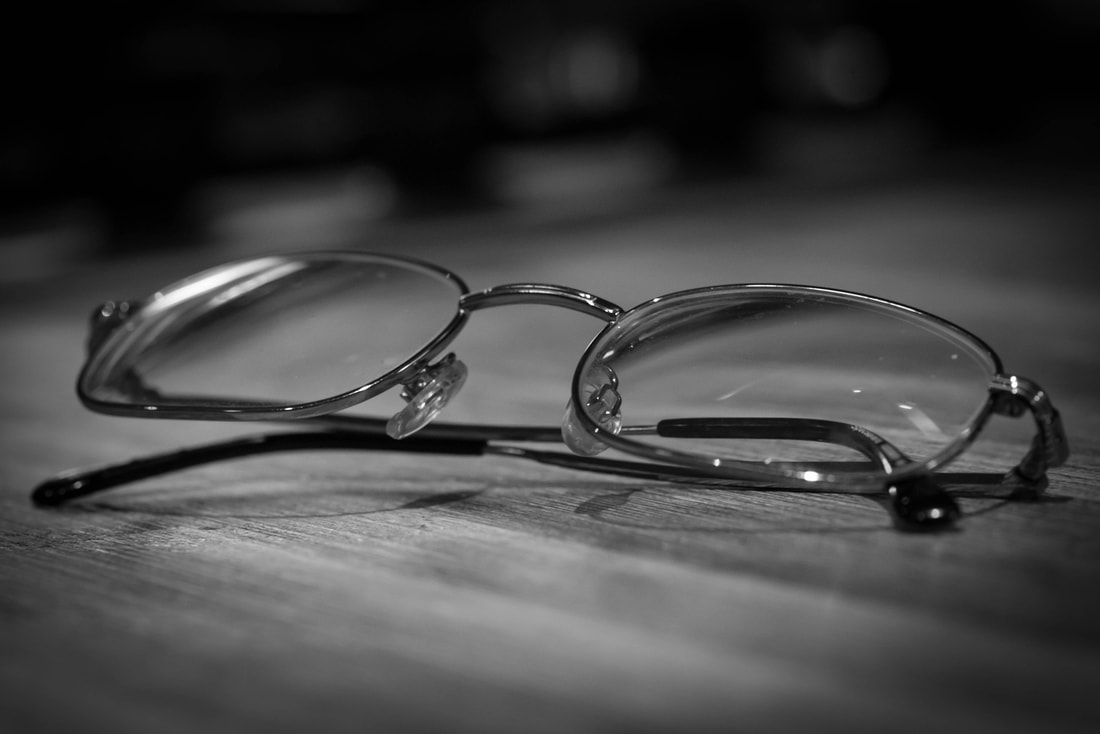 Glasses sitting on a desk